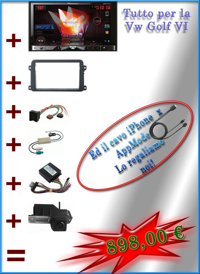 Promozione 2DIN Golf VI. AVH-X8500BT, Kit Installazione, Telecamera